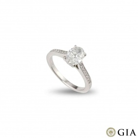 White Gold Oval Diamond Ring 1.03ct G/VS2